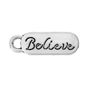 20 Believe Charm/Pendant Tibetan Antique Silver carved tag  20mm jewellery craft