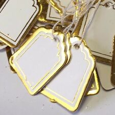 50 Paper String Swing price tags labels 2cm x 2.5cm White Gold Border Jewellery