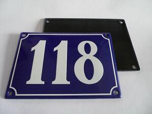 Antique French Blue  Genuine Enamel Porcelain House Door Number Sign / Plate 118