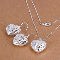 925 Silver Plated Hollow Heart Pendant Necklace Earring Set And Velvet Pouch UK