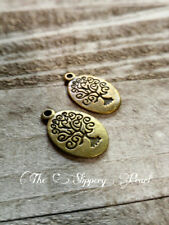 3 Tree of Life Charms Antiqued Bronze Tree Charms Oval Stamped Tree Pendants