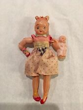 Small Celluloid doll from Japan with Baby and bottle