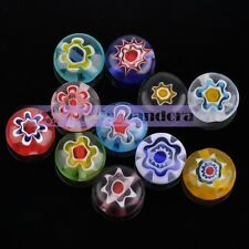 50pcs 8mm Flat Coin Colorful Exquisite Charms Lampwork Glass Spacer Loose Beads
