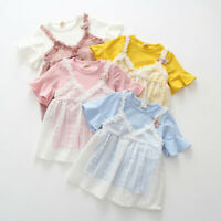 Toddler Infant Kids Baby Girls Lace Flower Princess Tulle Dress Clothes Outfits