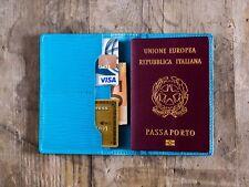 Custodia passaporto pelle turchese, portafogli, porta passaporto organizer