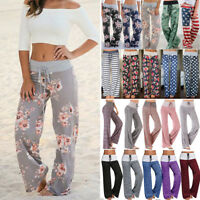 Women's Boho Floral Yoga Pants Palazzo Wide Leg Loose Baggy Harem Trousers G52