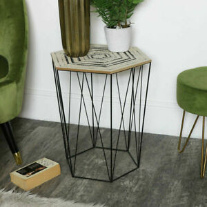 Geometric Hexagon Wire Metal Occasional Table Boho Style Side Stylish Modern UK