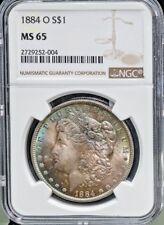 1884-O Morgan Silver Dollar - NGC MS-65 Superb Rainbow Toning Free S/H @2834