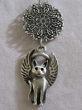 Pewter Guardian Angel Kitty-Cat Memorial Keepsake~Good Luck Charm Ornament