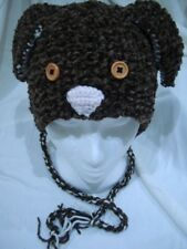 HAT dog earflap handmade brown unisex adult chunky brown acrylic easycare gift
