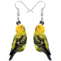 Acrylic Budgerigar Parrot Bird Earrings Big Long Dangle Jewelry For Women Charms