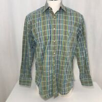 Robert Graham Blue Green Plaid Button Front Flip Cuff Cotton Shirt Size XL