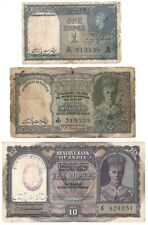 1 , 5 & 10 Rs India OVPT Government of Pakistan - Rare Notes