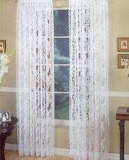 "Lace Curtains Pair White Vintage Style Floral 2 Panels Total 120"" W x 84"" L"