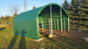 Unterstand Weidezelt Rundbogenzelt Weidehütte Außenklimastall 6x6x3,7m 750g PVC