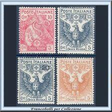 1915-16 Italia Regno Pro Croce Rossa n. 102/105 Ben Centrati Nuovi Integri **