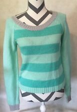 Small Charlotte Russe Women's Blue Green Striped Sweater Long Sleeve Top