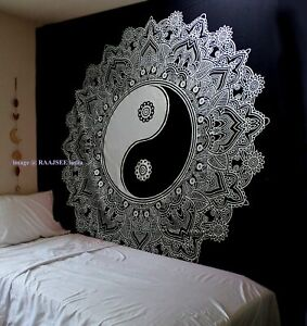 Tapestry Mandala Black & White Indian cotton wall hanging  - 210x220cm