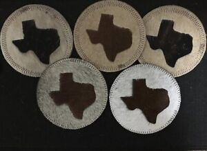 Superb Texas Map Cowhide set of 5  leather coasters home decor great look