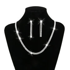 Wedding Bridal Party Crystal Rhinestone Jewelry Necklace Earring Set Silver