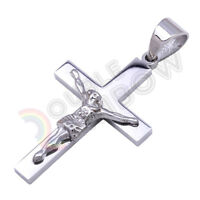 P33 Men Stainless Steel Gold Silver Small Jesus Cross Crucifix Pendant