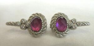 Judith Ripka Sterling Silver Rope Earrings Pink Purple Amethyst Oval Stone DMQ