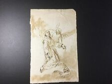 Old Master Drawing 17th C Italian Pen And Ink Saint Francis