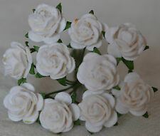 50 WHITE ROSE (1 cm) Mulberry for Paper weddings crafts cardmaking