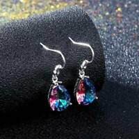 Mystic Topaz 925 Silver Water Drop Earrings Dangle Hook Fashion Women Jewelry