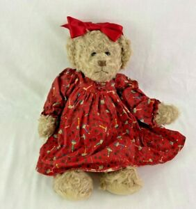 """Cottage Collectibles Ganz Becca Bear Red Bow Dress 15"""" Christmas Plush"""