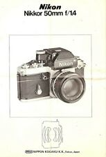 NIKON NIKKOR 50mm f/1.4 LENS INSTRUCTION MANUAL -nikon 35mm SLR
