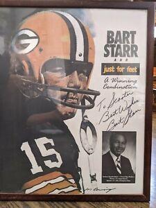 Bart Starr signed poster Green Bay Packers football Framed