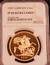 1997 Great Britain Gold 5 Sovereign NGC PF69 Ultra Cameo Gorgeous Coin PQ #D2