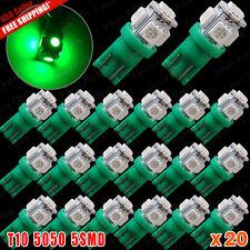 20x Vivid Green T10 168 194 5050 5SMD LED Wedge Map Interior License Light Bulbs