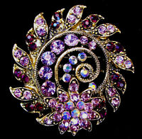 3D SPIRAL Flower ROYAL Purple Rhinestone AB LAVENDER Retro Brooch
