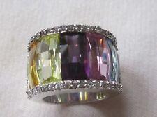 Multicolored/Amethyst,pink quartz ring, pave set, AAA cz, Silver hallmark/M/