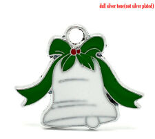 4 Pc Silver Tone Enamel Christmas Jingle Bell Charms Pendants 28mm x 23mm LC3071