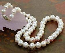 cadeau d'anniversaire 7-8mm,blanc,, perles d'eau douce, beau, collier, 43cm