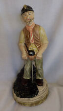 "Artmark Ceramic Coal Miner Figurine Vintage 11.5"" X 4.5"" X 5"" Multi Color Drill"