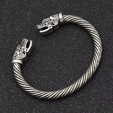 Unisex Norse Viking Bracelet Forme Dête De Loup Ouverte Bijoux Vintage Cadeau 1x