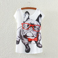 New Fashion Summer Women Short Sleeve Glasses Dog Print T Shirt Blouse Tops Tee