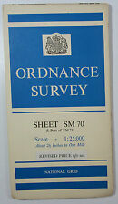 1960 old vintage OS Ordnance Survey 1:25000 First Series map SM 70 Skomer Island