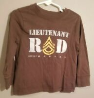 """Old Navy Toddler Boy Long Sleeve Brown T-Shirt Size 3T """"Luittenant Rad"""""""