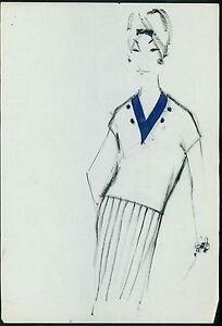 PIERRE BALMAIN Original drawing old Fashion Scketch ART COUTURE Paris unsign 19