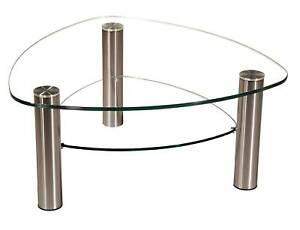 LIN-4L Couchtisch Glas Wankelform mit oder ohne Ablage Chromgestell mit Rollen