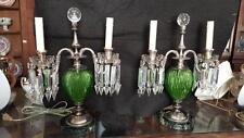 PR ANTIQUE PAIRPOINT CUT GLASS green lamps w/ prisms bubble glass finials prisms