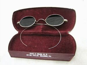 Pair Vintage Smoke Spectacles Sun Glasses Shades Sunglasses Specs Gray Grey+Case
