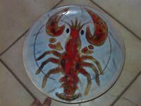 Ancienne Vintage Assiette décorée au Homard décoré main en céramique