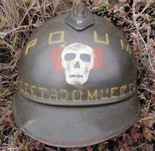 WW I ITALIAN ADRIAN M 15 SPANISH CIVIL WAR POUM LIBERTAD O MUERTE HELMET