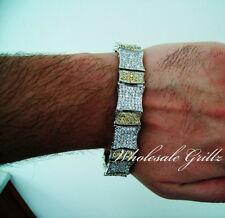 "NEW! $399 Mens 8"" 14k White Gold GP Yellow Canary Simulate Diamond Bracelet PAVE"